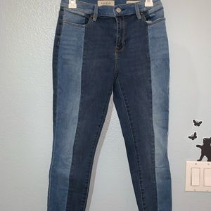 pacsun two toned skinny jeans